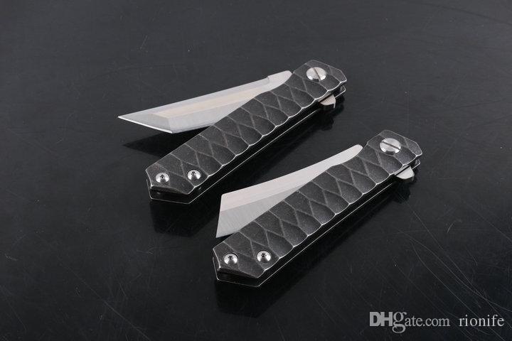 New Flipper faca de sobrevivência faca dobrável lâmina punho D2 cetim lâmina de aço EDC bolso rápido Abrir Bearing facas arruela da bola do fechamento