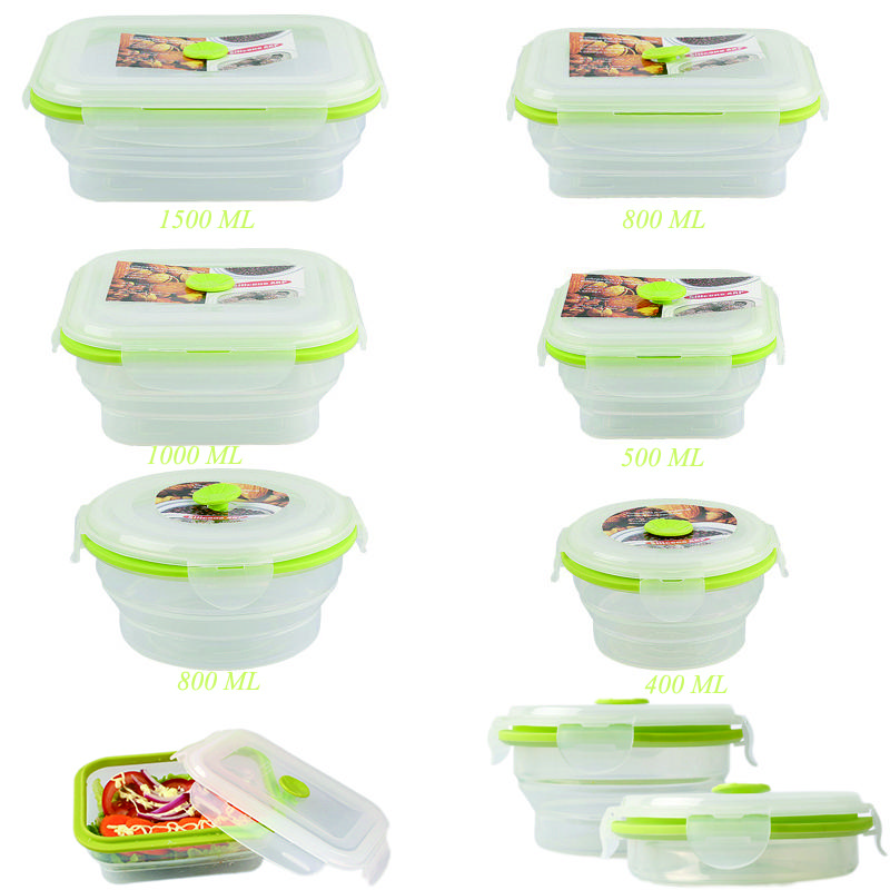 Best Hot 6 Sizes Silicone Collapsible Portable Lunch Boxs Bowl Bento