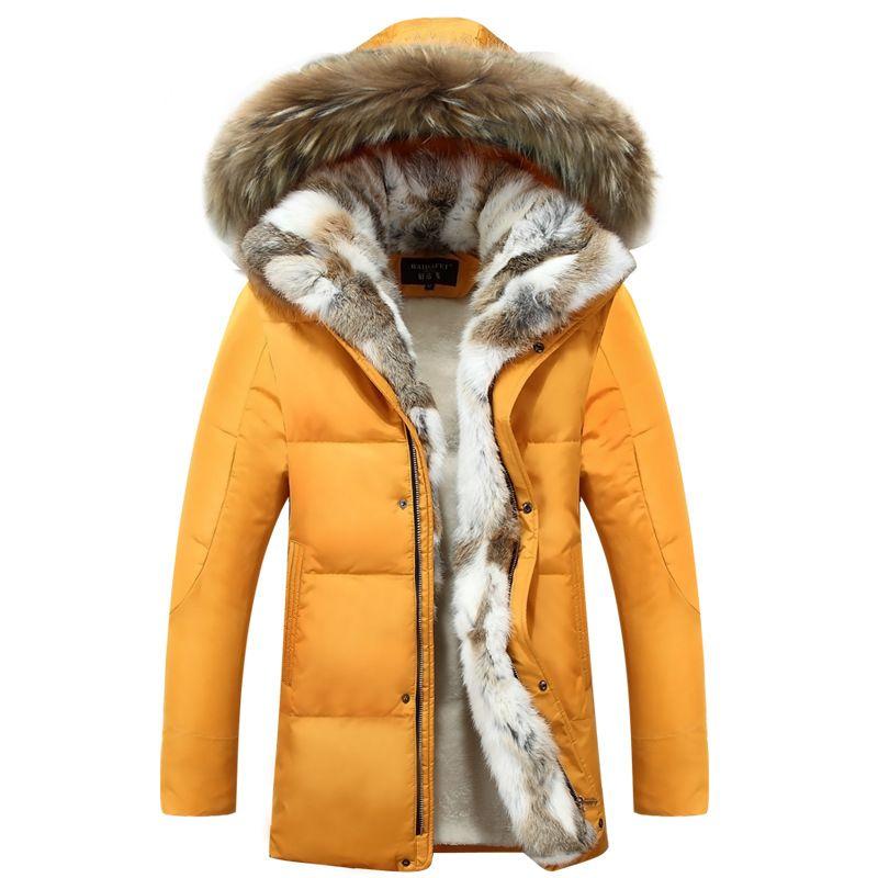 6cb76b768 Wholesale- Winter Men's Duck Down Jackets Coats Real Rabbit Fur Men Women  Lovers Fashion Thick Warm Parka Classic Mens jaqueta masculina