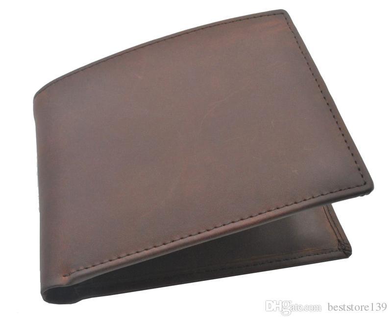 남성을위한 도매 크레이지 호스 가죽 지갑 뉴 스타일 빈티지 지갑 다크 브라운 정품 가죽 지갑