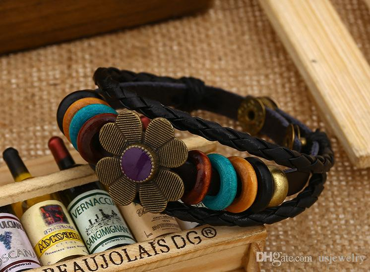 Fashionable joker ladies leather bracelet Personality punk act the role ofing is tasted Multicolor flower bracelet