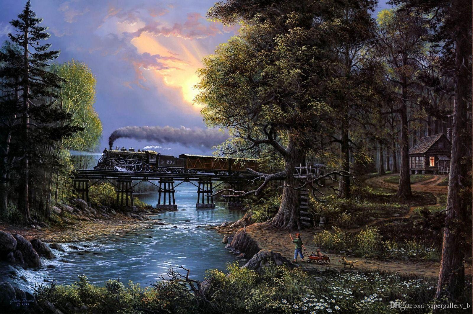 2019 Jesse Barnes The Train And The Forest Hd Art Print Painting On
