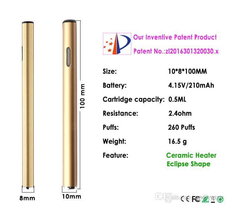 Ceramic Coil 0.5ml Flat BT50 Disposable Vape Pen for Wax CO2 BUD 0.5ml Vaporizer Dry Herb Cheap E Cigs Electric dab nail