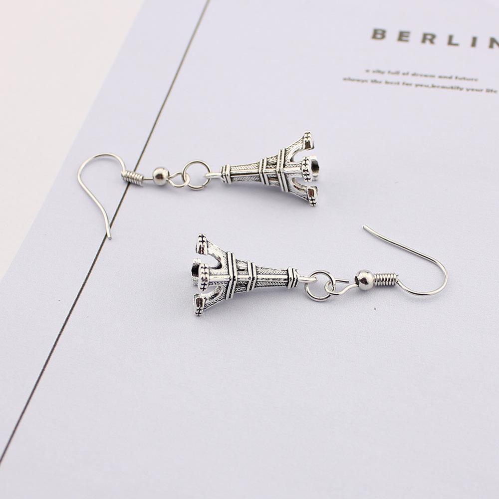 2017 yeni varış Antik Gümüş Sevimli Erfeier kulesi alaşım Küpe 925 Gümüş Balık Kulak Kancası Avize kaliteli takı