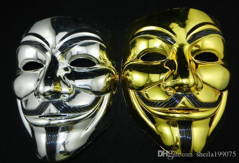 золото и серебро V маска Вендетта черное золото Маска с подводкой для глаз анонимный парень Фокс необычные взрослый костюм Хэллоуин маски