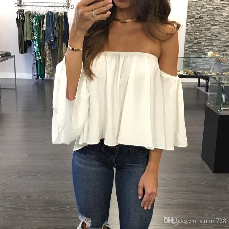 cf2d2b25e207 2017 New Sale Short Chiffon Off Shoulder Boat Neck Summer T Shirts Ruffle Long  Sleeve Loose Casual Women Tops Sexy Lady Clothing Shop T Shirts Online T ...