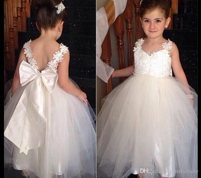 2018 Bow Princess Wedding Gown Children Brace Girl Ball Kids