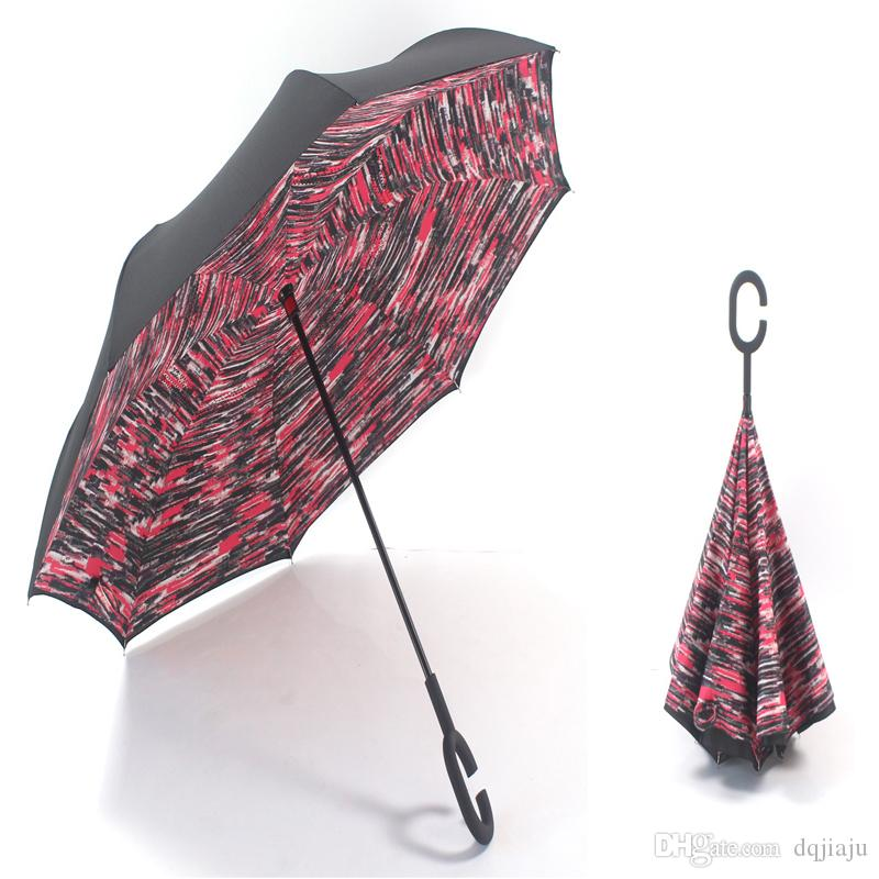 Ombrello invertito doppio strato Reverse Rainy Sunny Umbrella 20 stili con maniglia C / J Self Standing Inside Out design speciale Spedizione gratuita