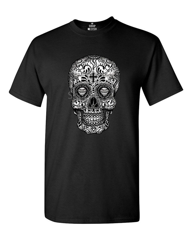 Men Sugar Skull Black & White T Shirt Day Of The Dead ...