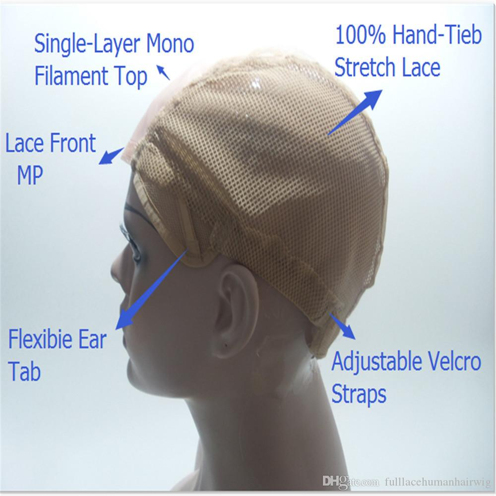 Newest Mono Net Lace Front Wig Caps For Making Wigs With Adjustable Strap Glueless Weaving Cap With Anti-slip Strip Edge