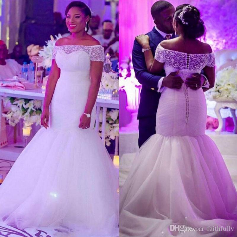 Modest Plus Size Wedding Dresses Sheer Beading Bateau Neck Mermaid