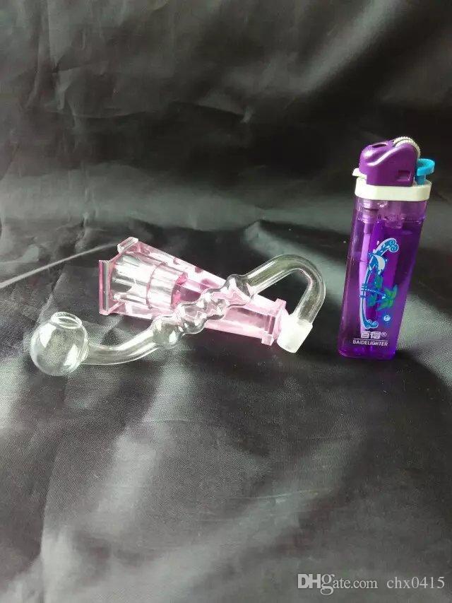 S tubo quatro com bongs bolha pote de vidro acessórios, Tubos único queimador de óleo de vidro tubulações de água Cachimbo de vidro plataformas petrolíferas fumadores com conta-gotas