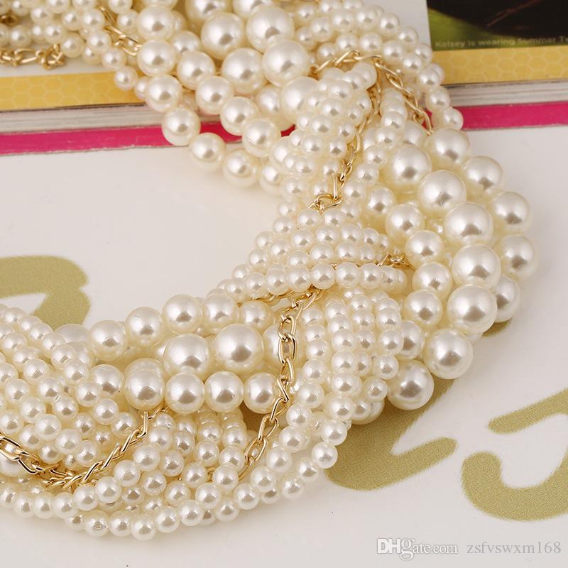 حفل زفاف بالغت مبالغ فيها متعدد الطبقات بلون الخرز المنسوجة سبيكة تصفيح قلادة أقراط جناح مجوهرات الزفاف