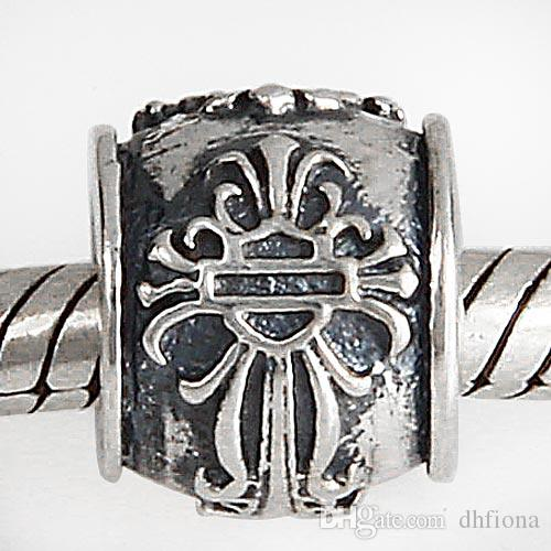 Loose 925 Sterling Silver Beads Jewelry Making Jesus Cross Pattern Pandora Round Bead Charm For Bracelet
