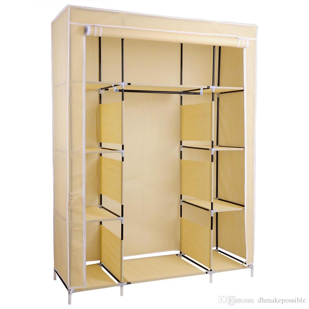 "67"" Portable Closet Storage Shelves Colthes Fabric Wardrobe Organizer Rack Shelf"