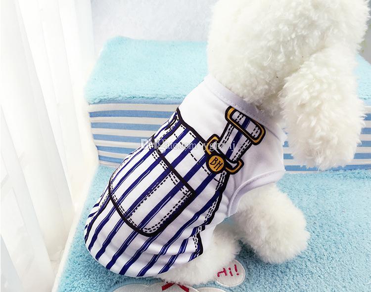 Ropa para mascotas al por mayor, nueva primavera y chaleco para perros de verano, cinturón falso ropa para mascotas, ropa de bar, envío gratis