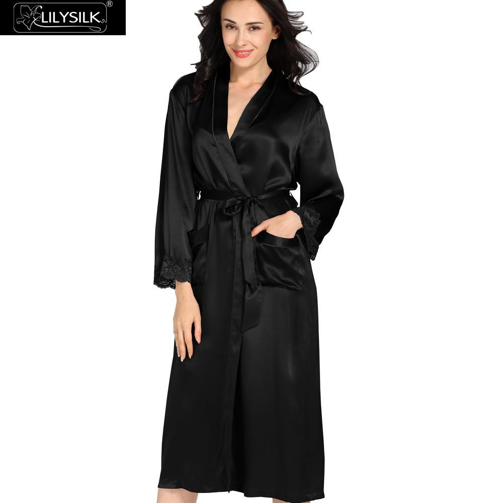 40e4bd73b2 2019 Wholesale Lilysilk Robe Female Natural Chinese Silk Women Gowns Lace  Bride Robes 22 Momme Long Sleeve Sexy With Belt Sleepwear Bathrobe From  Viviant