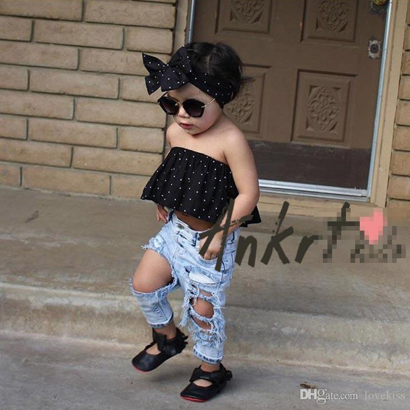 Hot Sale Girls Baby Clothing Fashion Jeans Summer Fashion ...