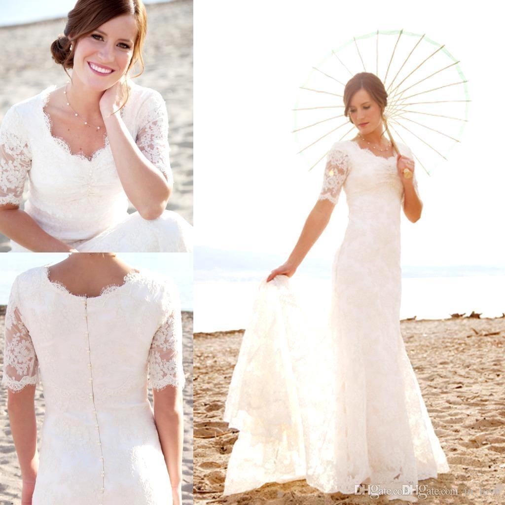 Full Lace Beach Wedding Dresses Half Sleeve Scoop Neck 2020 Simple Elegant Design Floor Length Bridal Gowns Custom Size