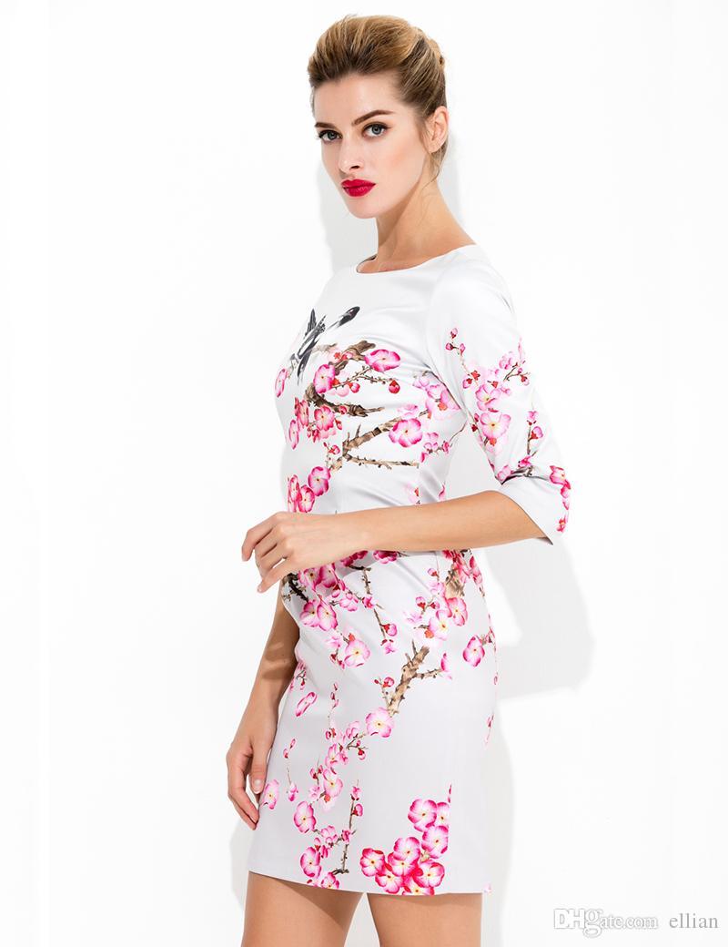 Çiçek Kuşlar Baskı Kadınlar Kılıf Elbise Yuvarlak Boyun Kısa Kollu Elbiseler 09K576