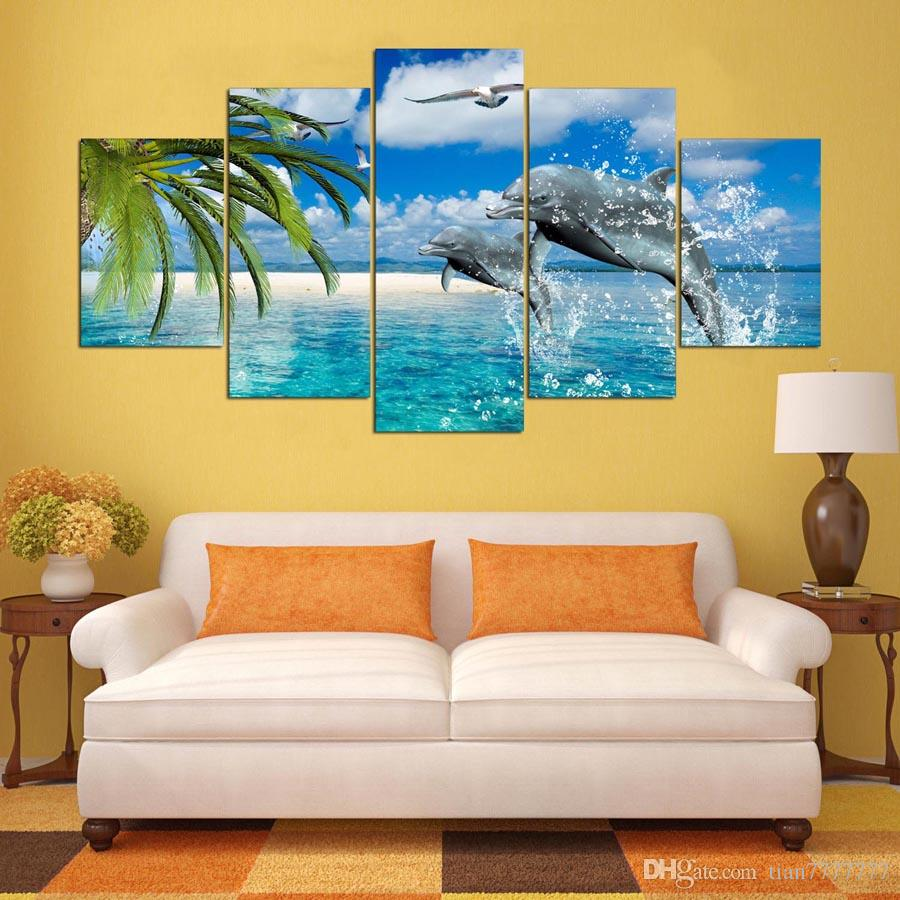 2018 Home Wall Decorative Painting On Canvas Dolphins Seascape Oil ...