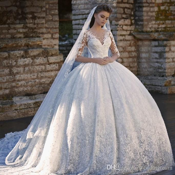Amazing Lace Ball Gown Wedding Dresses With Half Sleeves Sheer V ...
