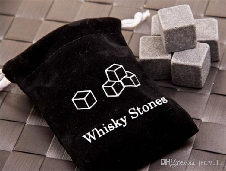 Alta Qualidade Natural Whiskey Stones Uísque Pedras Refrigerador Whiskey Rock Pedra De Sabão Ice Cube Com 9 pçs / set TA180