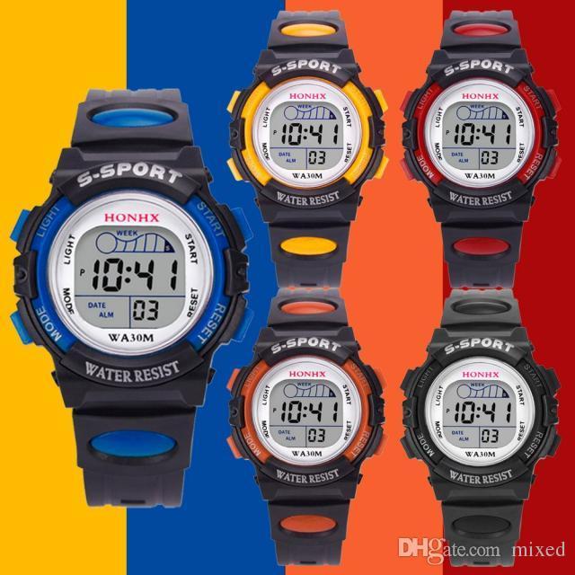 D55 мода желе светодиодные часы водонепроницаемый спортивные часы мальчики девочки детские цифровые часы будильник дата силиконовые часы подарок