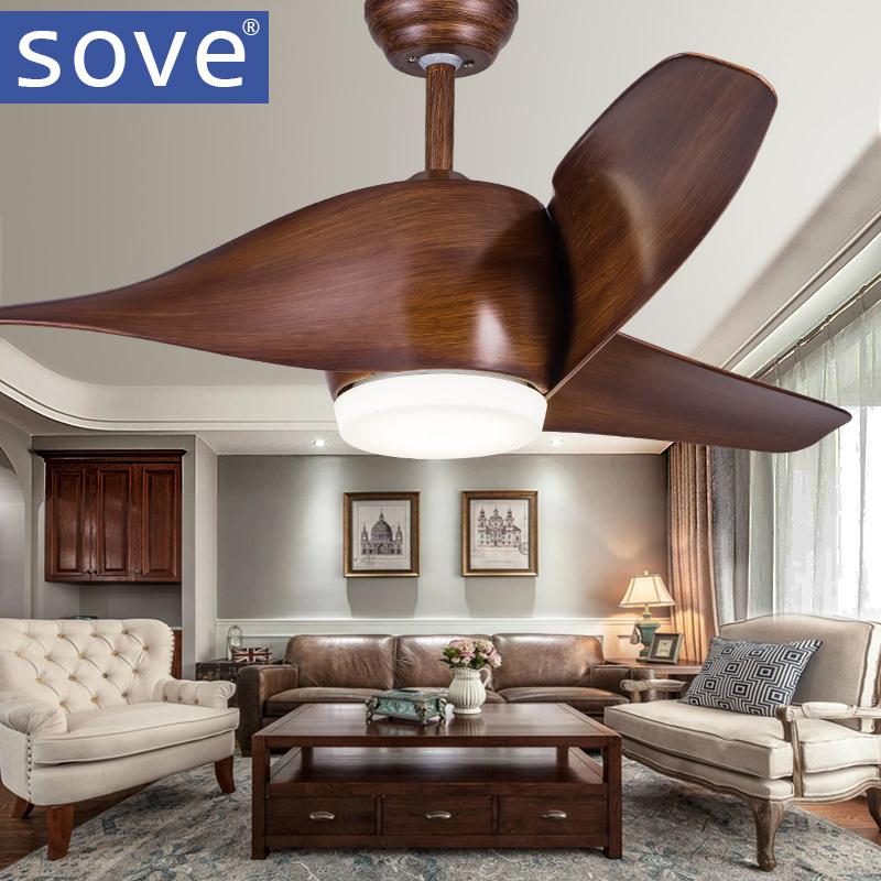 2018 Sove Brown White Without Light Ceiling Fan With Lights Remote Control  Ventilador De Techo 220 Volt Bedroom Ceiling Light Fan Lamp Led Bulbs From  Langui ...