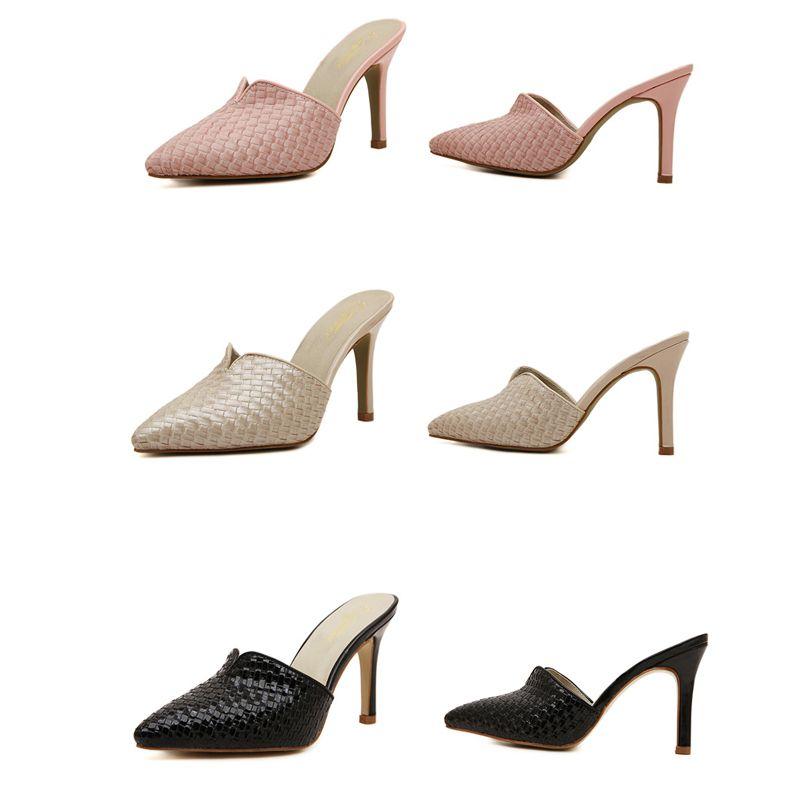 Vintage Solid Pointed Toe High Heels Women Sandals Mules Slip On Slides Sandals For Women Stilettos Summer Shoes Woman D50