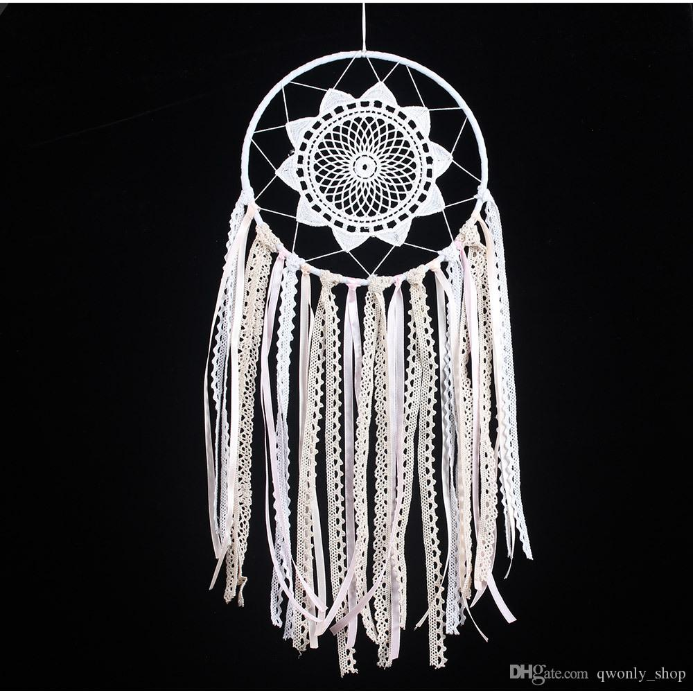 2018 White Handmade Macrame Dream Catcher Wall Hanging
