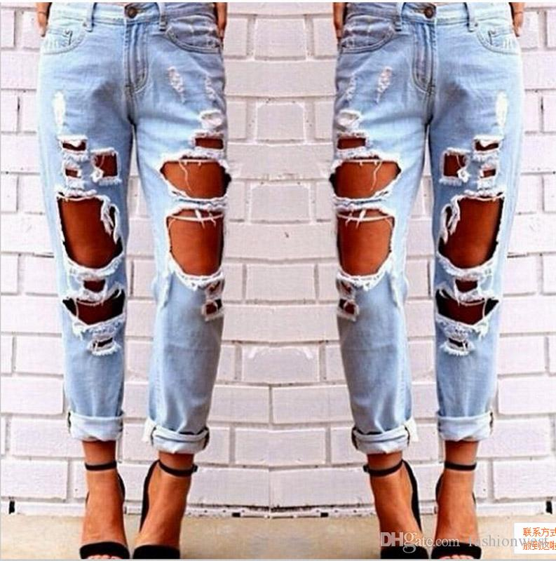 81661d200d8d 2019 Ripped Jeans Denim Joggers Knee Holes Slim Fit Jeans For Women Blue  Rock Star Womens Jumpsuit Destroyed Jeans Boyfriend Pencil Pants From  Fashionwest
