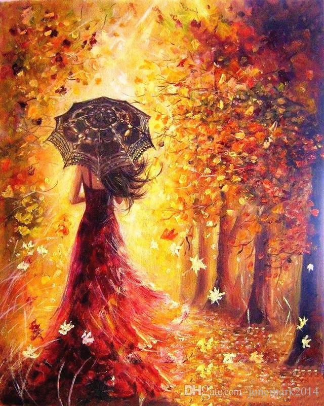 Sem moldura mulheres bonitas outono paisagem diy pintura by numbers kits de coloração pintura by numbers moderno presente da arte da parede da imagem