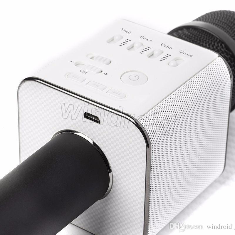 2017 heißes geschenk karaoke mini bluetooth mikrofon drahtloses mikrofon q9 aktualisiert von q7 ith mic lautsprecher ktv super bass portable lautsprecher