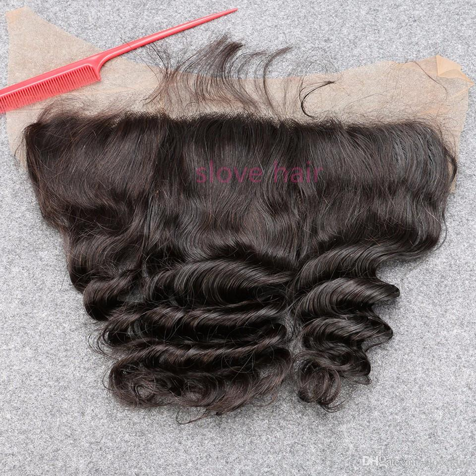 Indian loose wave lace frontal closure 13x4 ear to ear full lace frontals with baby hair indian virgin hair loose wave frontal