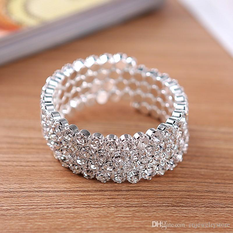 5cc31872b590a 4 Row Big Crystal Rhinestone Stretch Bangle Bracelet Wedding Bridal Spiral  Wristband High Quality Fashion Jewelry Accessories for Women