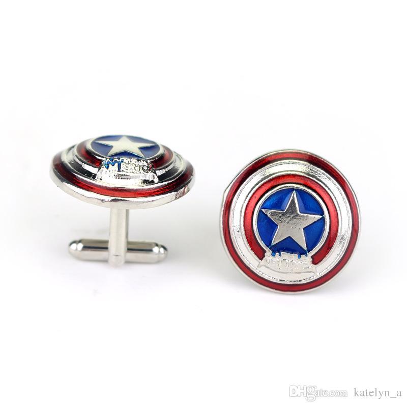 Film Schmuck Super Hero Captain America Schild Manschettenknöpfe Emaille Runde US-Flagge Manschettenknöpfe Manschettenknöpfe