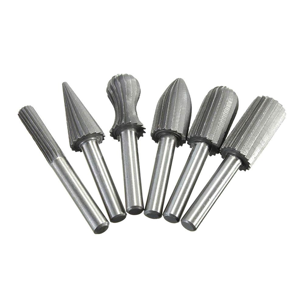 6pcs/set Carbide Cutter Rotary Burr Set CNC Engraving Bit Rotary File Bur  Burr Grinding Shank 6mm 1/4 For Dremel Rotary Tools