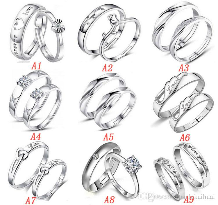 306980d429 2019 Top Grade Silver Couple Rings Hot Sale Crystal Charms Lovers Band Ring  Opening Adjustable Party Gift Jewelry From Huanlekaihuai, $1.57 | DHgate.Com