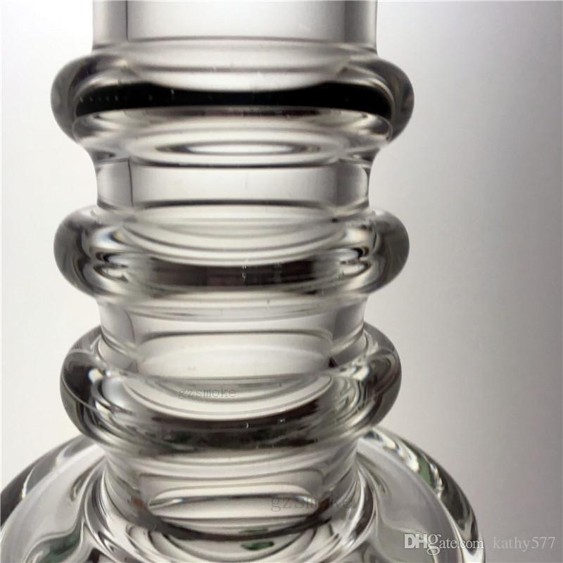 Прямые трубчатые бонги Сотовые стеклянные бонги Двухслойные перколяционные водопроводные трубы UFO Perc Dab Rigs Пьянящий барботер с кварцевым держателем