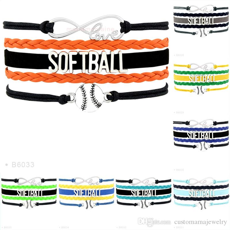 Custom-Infinity Love Softball Charm Wrap Sports Team Bracelets For Women Men Black Orange Pink Leather Bracelet Jewelry