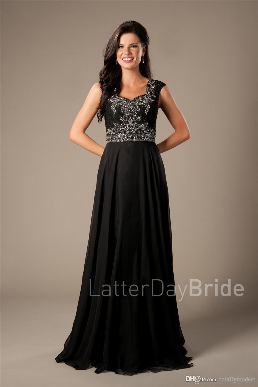 Preto Chiffon Longo Modest Prom Vestidos mangas frisado Sparkly elegante formal da ocasião vestidos de noite Mulheres Sepcial vestidos baratos