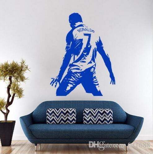 0403 novo design cristiano ronaldo figura adesivo de parede de vinil diy home decor decalques da estrela de futebol de futebol atleta jogador decalques para quarto de crianças