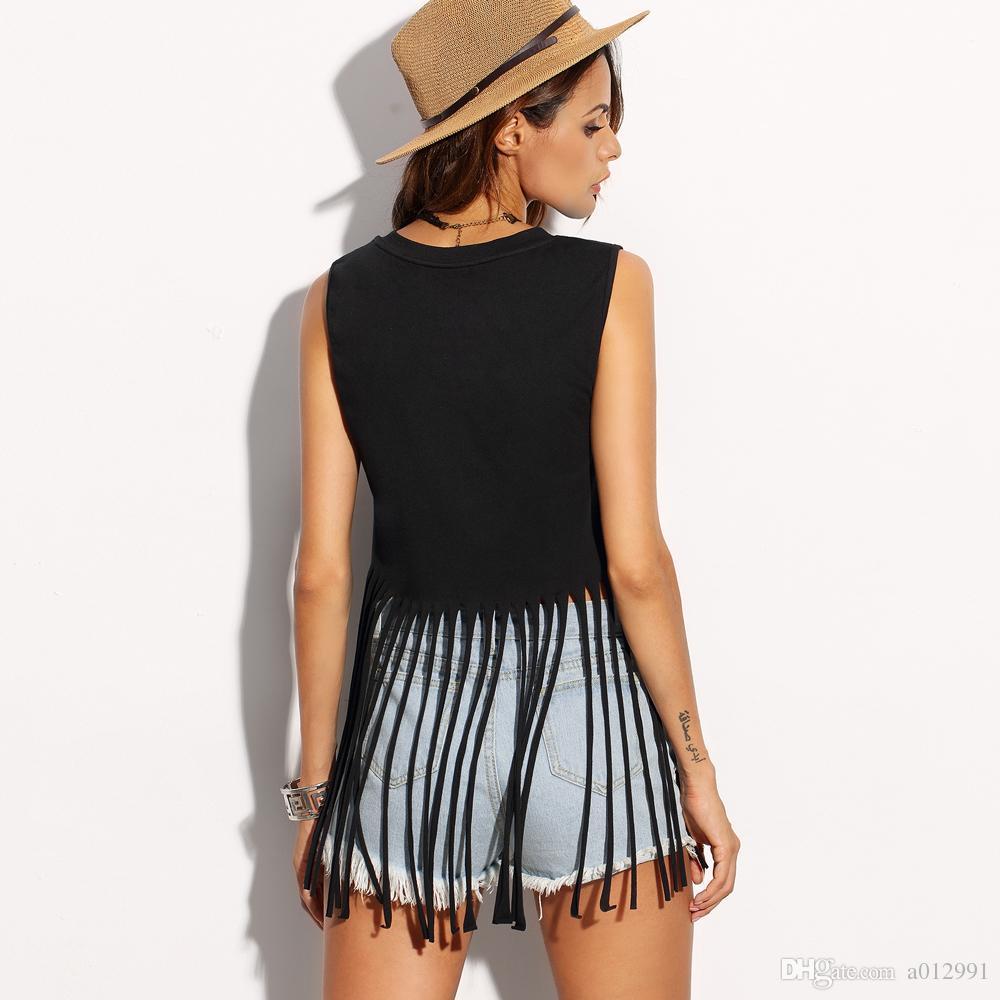 2017 Art- und Weisefrauen-Sommer-reizvolle kurze ärmellose Quaste-Bluse beiläufige Oberseiten-Dame T-Shirt schwarze lange Quaste kurz T-Shirt Quastenmädchen T-Shirt