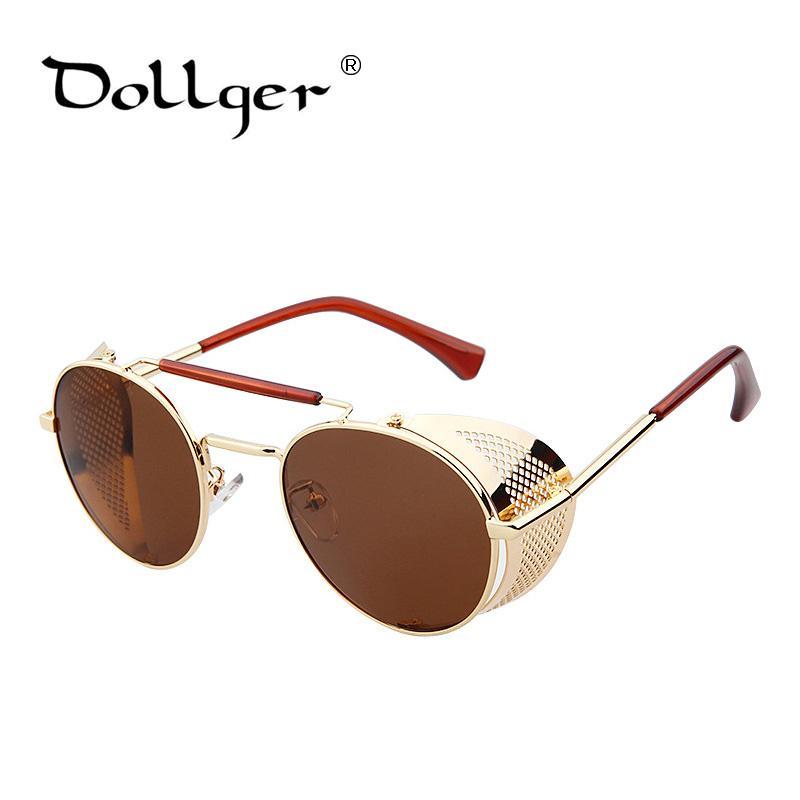 07bd5f29a6 Wholesale Dollger Steam Punk Windproof Metal Shield Sunglasses Men Women  Round Designer Colorful Sunglasses Hollow Iron Man S1090 Sunglasses For Men  ...