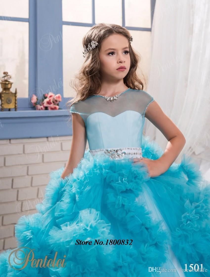 Glitz Flower Girls Dress Pageant Dresses Crystal Kids Frock Designs Uniques First Communion Dress For Girls kids Evening Gowns Ball