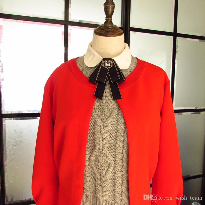 New Dress Uomo donna Collare Farfallino Spille vintage Lungo nastro Nappa Donna Big Bowknot Camicie da sposa Accessori Gioielli di moda