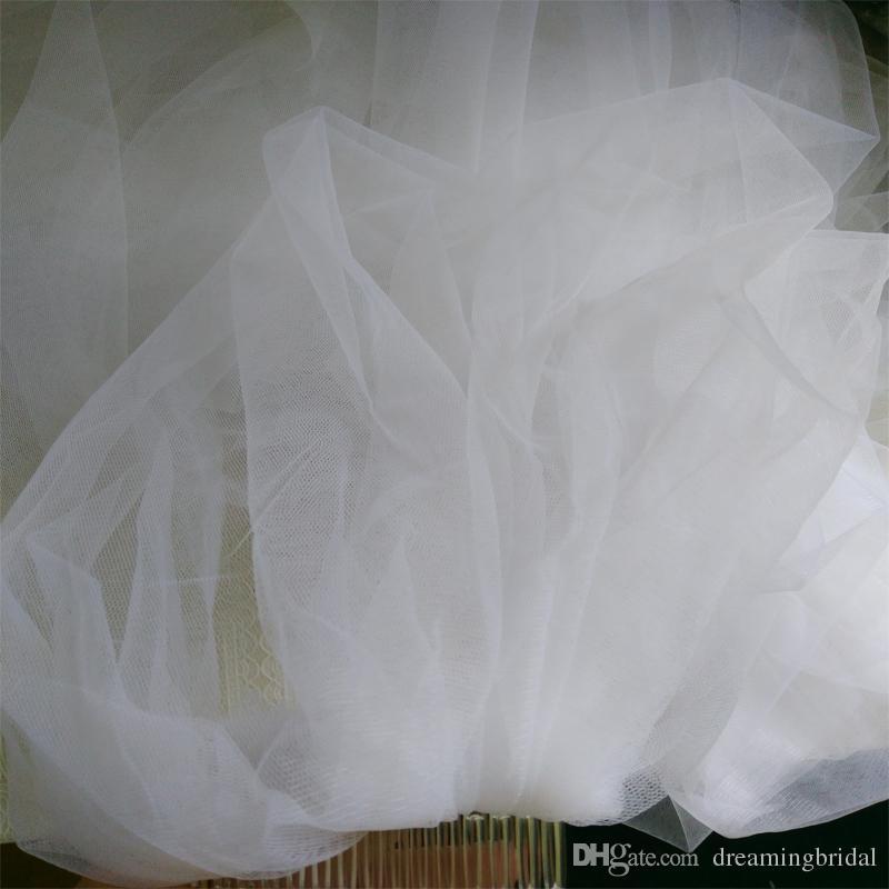 weißer 3 m langer schleppender Kathedralenhochzeitsschleier mit 3 Schichten Brautschleier mit Kamm-Hochzeitsschleierzusätzen