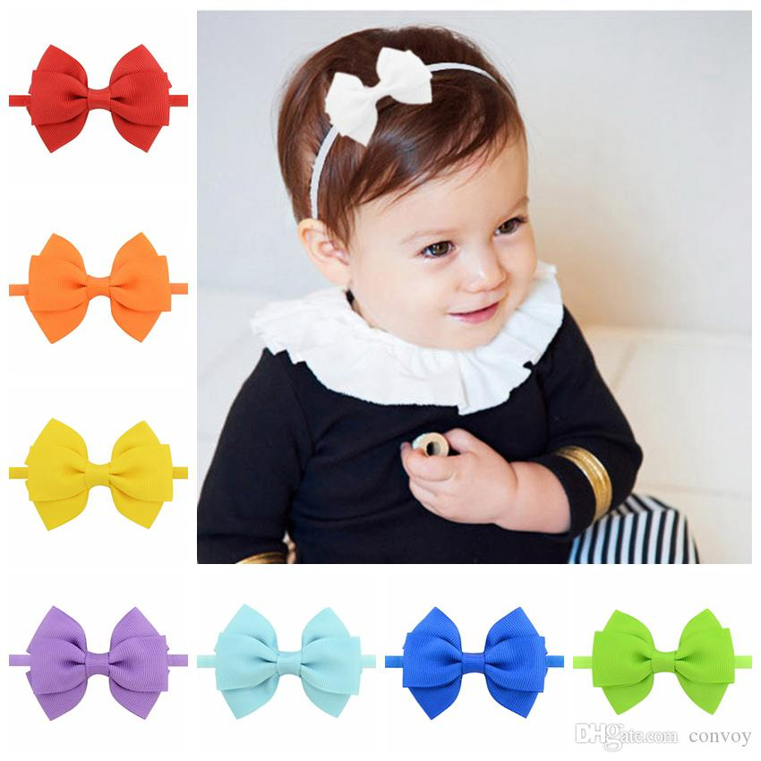 Fashion Baby Headbands Double Bows Kids Delicate Ribbon Elastic Headbands  For Girls Children Hair Accessories Bowknot Hairband KHA153 Bridal Hair ... 460d2723e0c