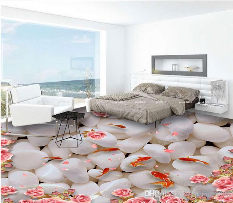 3d Floor Photo Wallpaper Custom Floor Tiles Water In The Goose Soft
